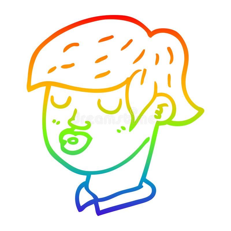 A creative rainbow gradient line drawing cartoon content face. An original creative rainbow gradient line drawing cartoon content face vector illustration