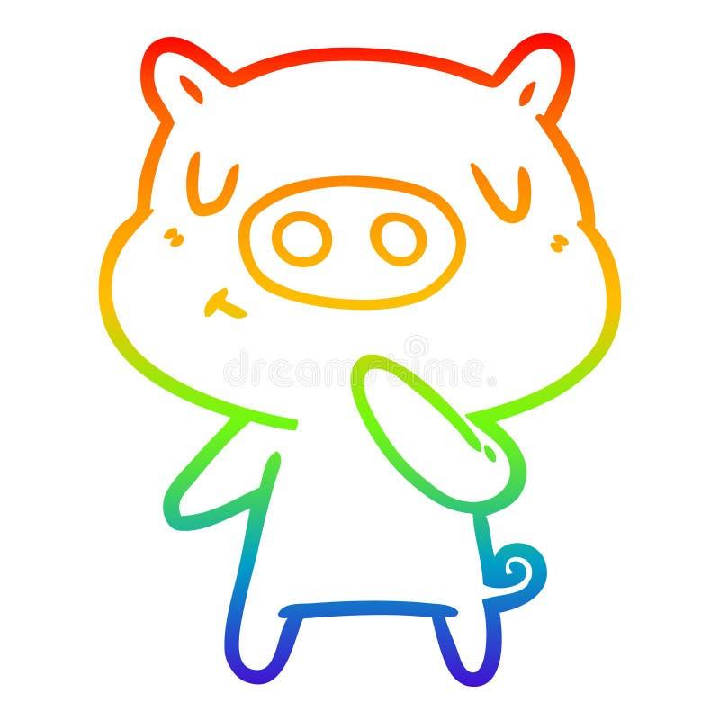 A creative rainbow gradient line drawing cartoon content pig. An original creative rainbow gradient line drawing cartoon content pig stock illustration