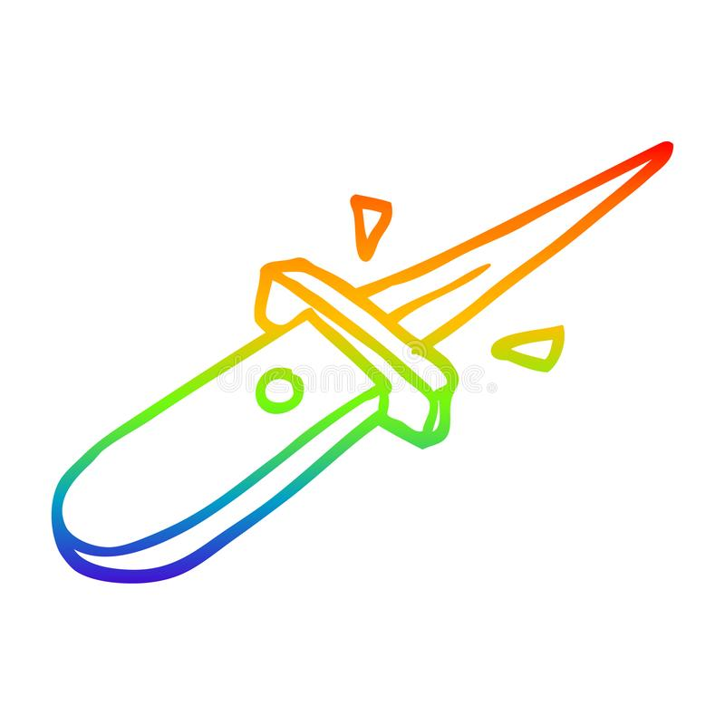 A creative rainbow gradient line drawing cartoon flick knife snapping open. An original creative rainbow gradient line drawing cartoon flick knife snapping open stock illustration