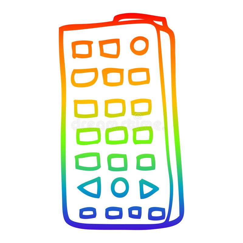A creative rainbow gradient line drawing cartoon remote control. An original creative rainbow gradient line drawing cartoon remote control stock illustration