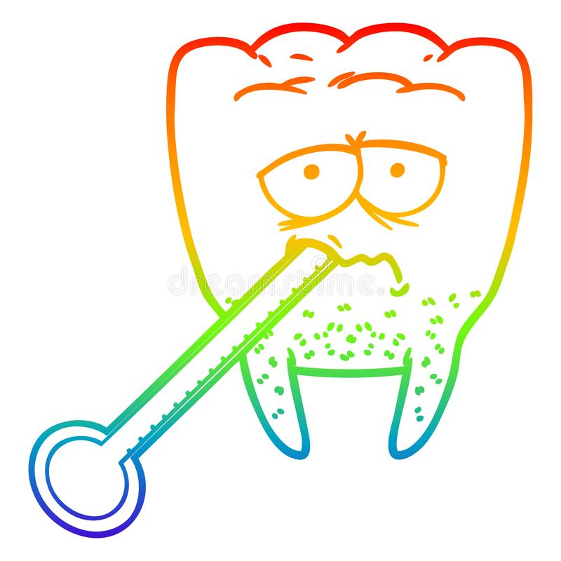 A creative rainbow gradient line drawing cartoon unhealthy tooth. An original creative rainbow gradient line drawing cartoon unhealthy tooth vector illustration