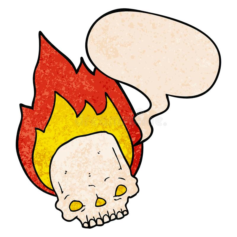 A creative spooky cartoon flaming skull and speech bubble in retro texture style stock illustration