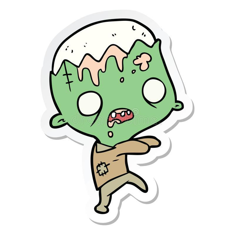Zombie Halloween Spooky Scary Cute Cartoon Sticker Stick