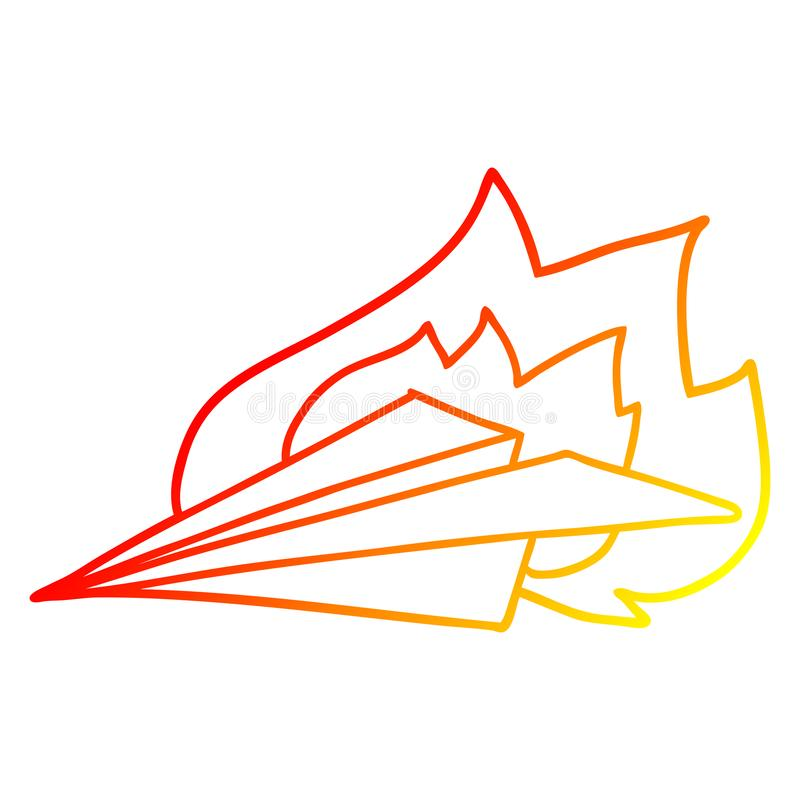 A creative warm gradient line drawing cartoon burning paper airplane. An original creative warm gradient line drawing cartoon burning paper airplane stock illustration