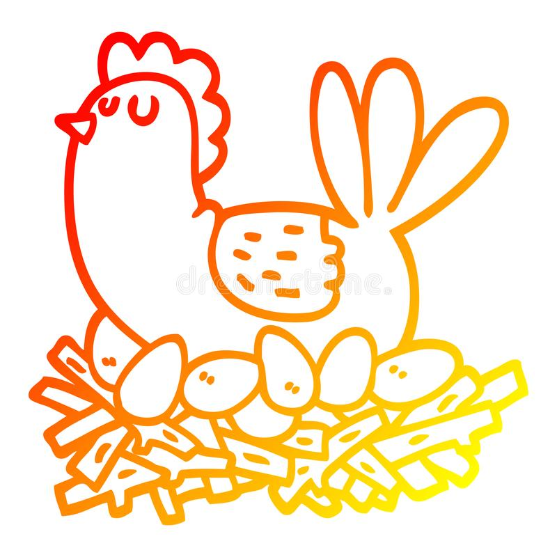 A creative warm gradient line drawing cartoon chicken on nest of eggs stock illustration