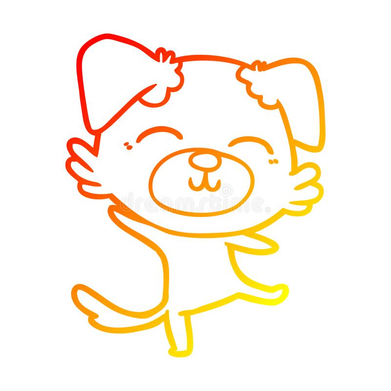 A creative warm gradient line drawing cartoon dog doing a happy dance. An original creative warm gradient line drawing cartoon dog doing a happy dance vector illustration