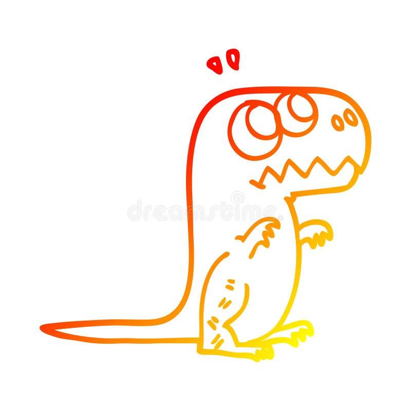 A creative warm gradient line drawing cartoon roaring t rex stock illustration