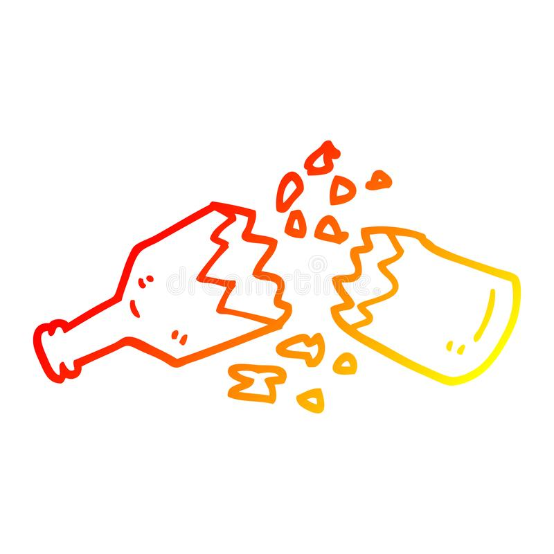 A creative warm gradient line drawing cartoon  smashed glass bottle royalty free illustration