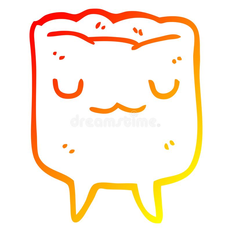 A creative warm gradient line drawing cartoon tooth. An original creative warm gradient line drawing cartoon tooth vector illustration