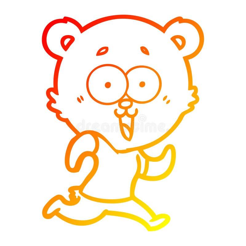 A creative warm gradient line drawing laughing teddy  bear cartoon royalty free illustration