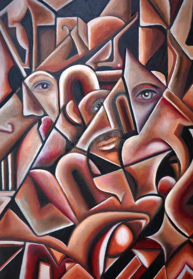 Original Cubism Artwork Hidden Faces royalty free illustration