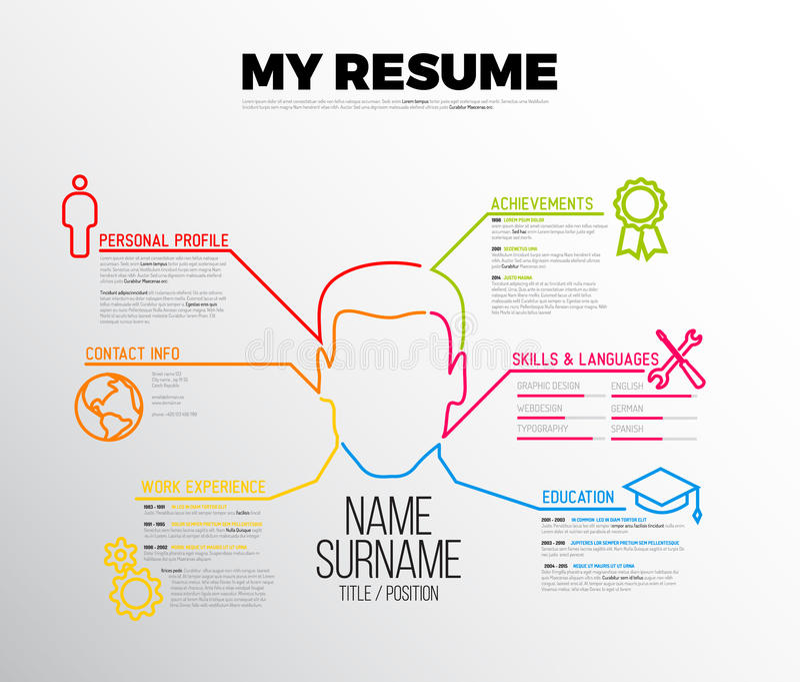 Original cv / resume template. Vector original minimalist cv / resume template - creative version with big avatar vector illustration