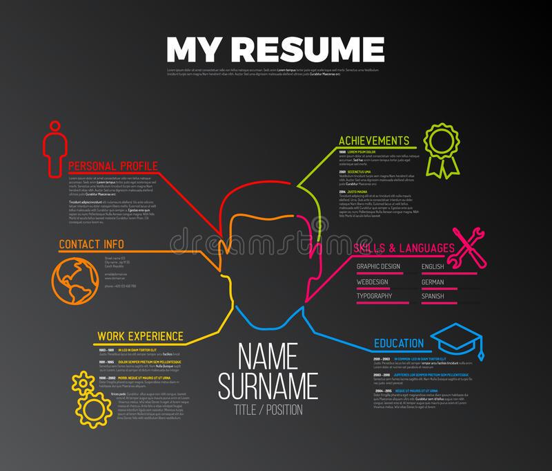 Original cv / resume template. Vector original minimalist cv / resume template - creative version with big avatar - dark version stock illustration