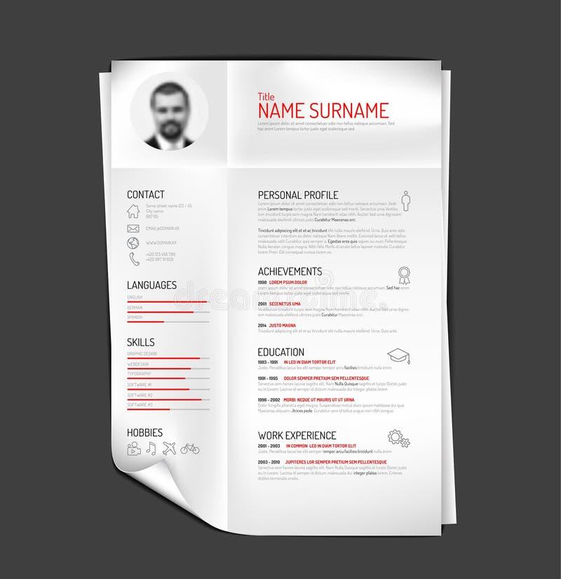 original cv    resume template stock vector
