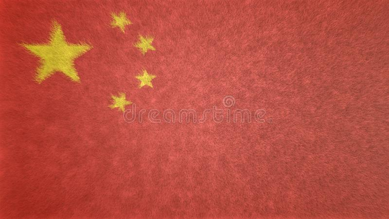 Original 3D image of the flag of China. royalty free illustration