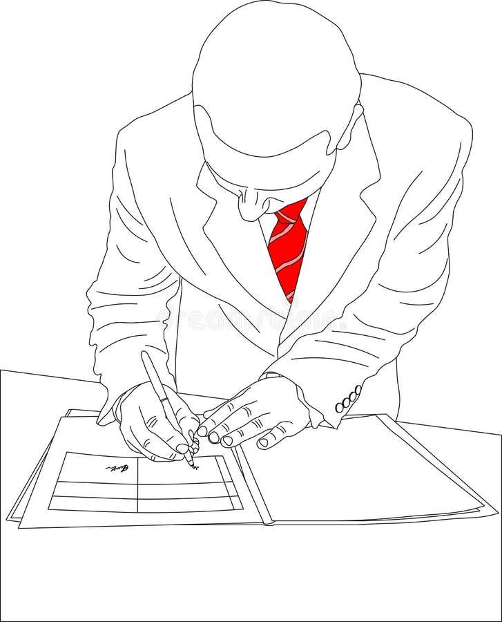 Original de assinatura do homem de negócios ilustração stock