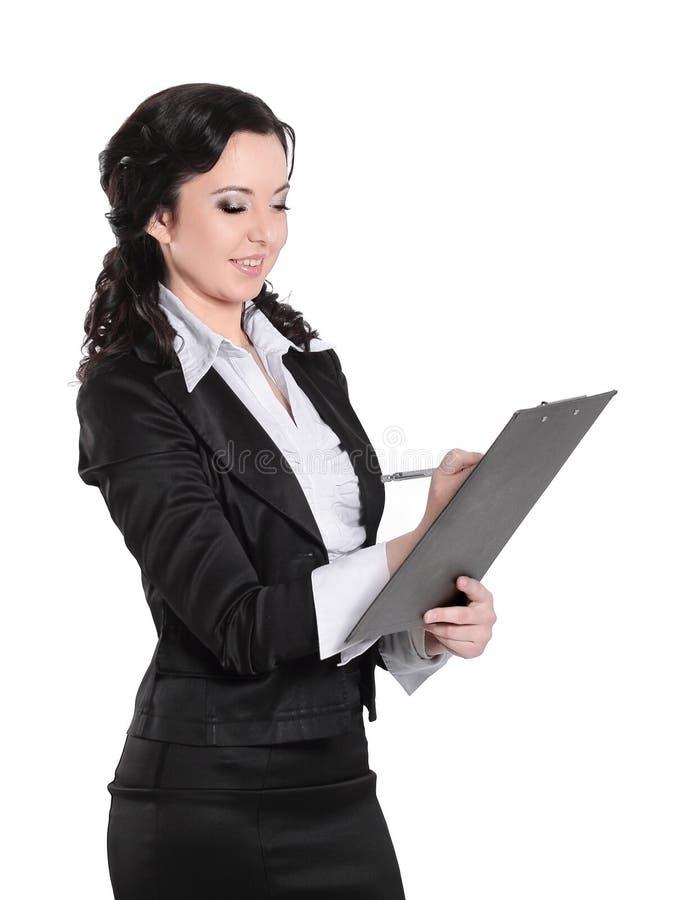 Original de negócio de assinatura da mulher de negócio Isolado no branco imagens de stock