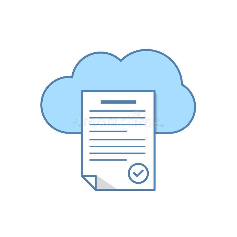 Original de texto no ícone do armazenamento da nuvem Serviço da nuvem Ilustração lisa isolada no fundo branco ilustração do vetor