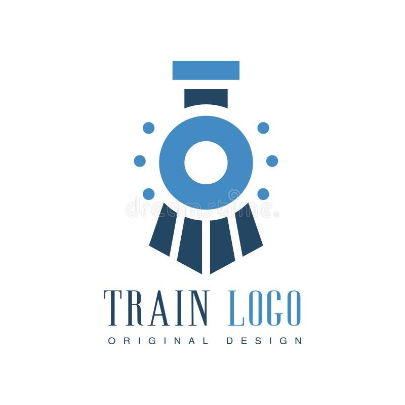 Original- design för drevlogo, för emblemvektor för järnväg transport illustration royaltyfri illustrationer