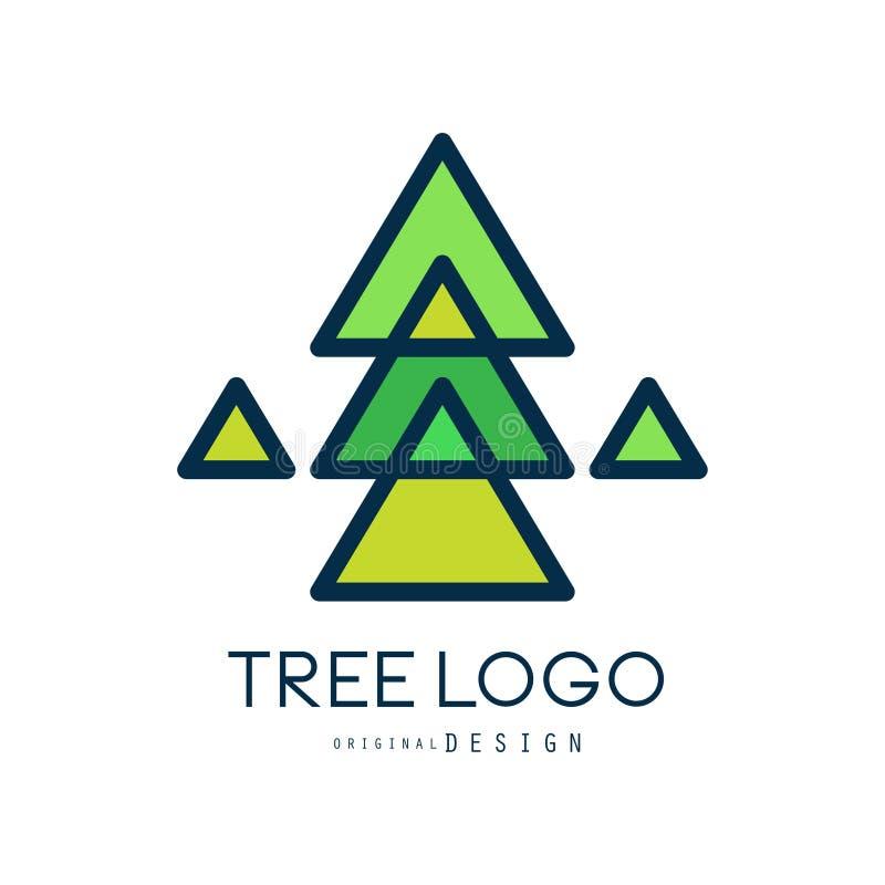 Original- design för grön trädlogo, grönt geometriskt emblem för granträd, abstrakt organisk beståndsdelvektorillustration vektor illustrationer