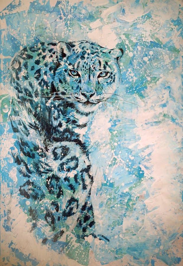 Original- diagram, snöleopard sitter på en ljus bakgrund arkivbilder
