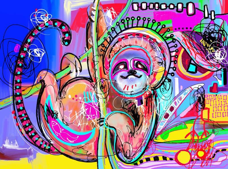 Original- digital abstrakt målning av sengångaren - göra perfekt till interioen royaltyfri illustrationer