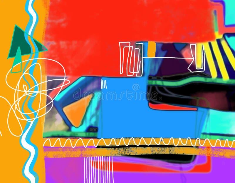 Original- digital abstrakt sammansättning, färgrik samtida konst royaltyfri illustrationer