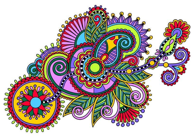 Original digital draw line art ornate flower ilustração stock