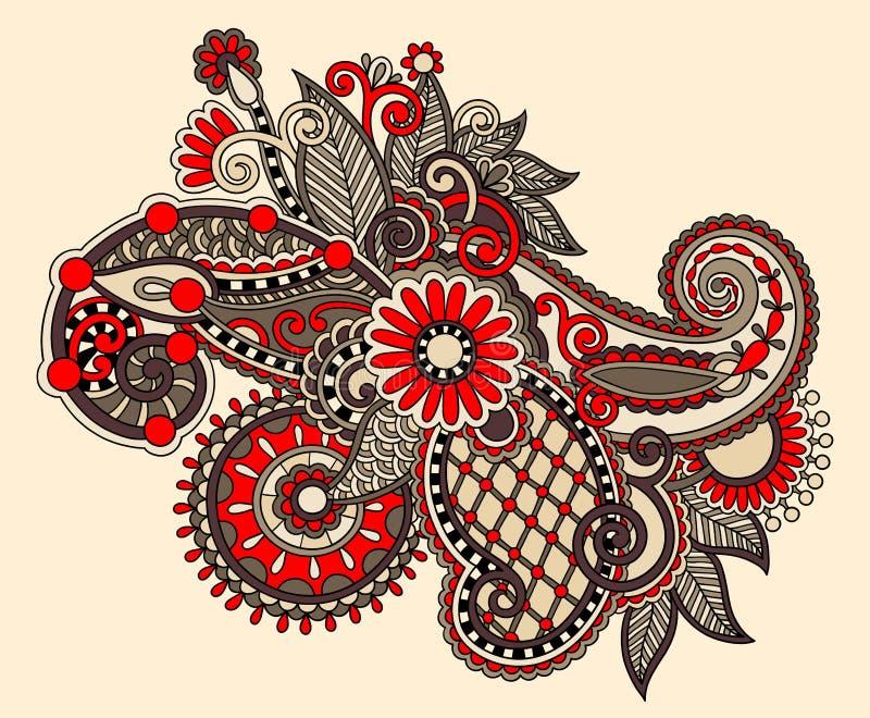 Original digital draw line art ornate flower ilustração do vetor