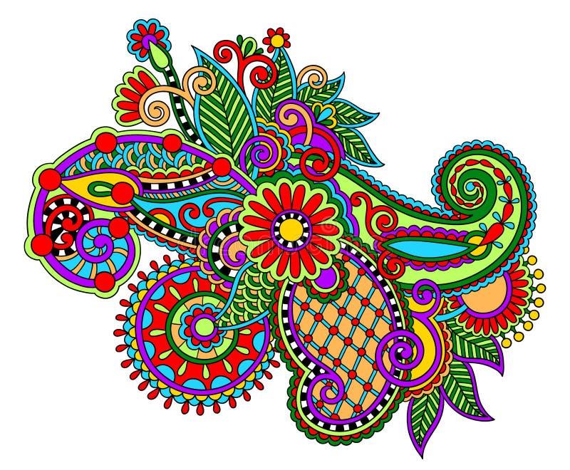 Original digital draw line art ornate flower ilustração royalty free