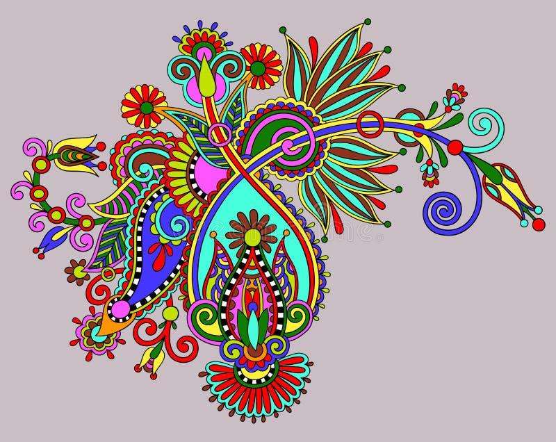 Original digital draw line art ornate flower. Design. Ukrainian traditional style vector illustration