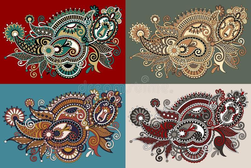 Traditional Flower Line Drawing : Original digital draw line art ornate flower stock vector