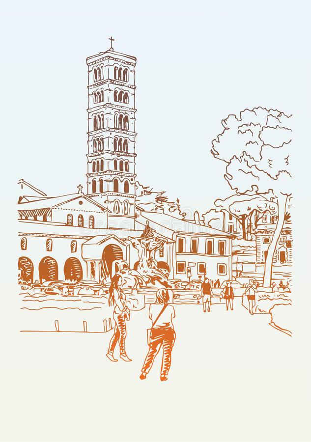 original digital drawing of Rome street, Italy, old italian impe royalty free illustration