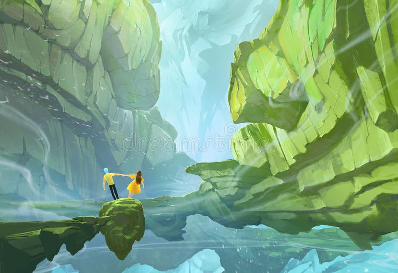 Original digital painting of a fantasy colorful landscape with a couple of young people royalty free illustration