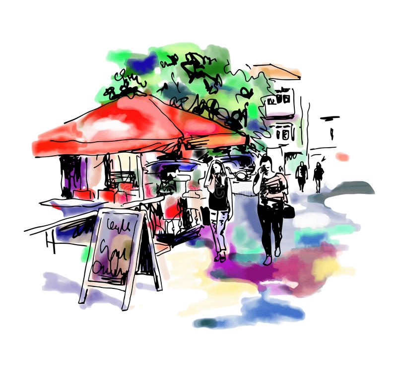 Original digital sketch watercolor of Kyiv street cafe royalty free illustration