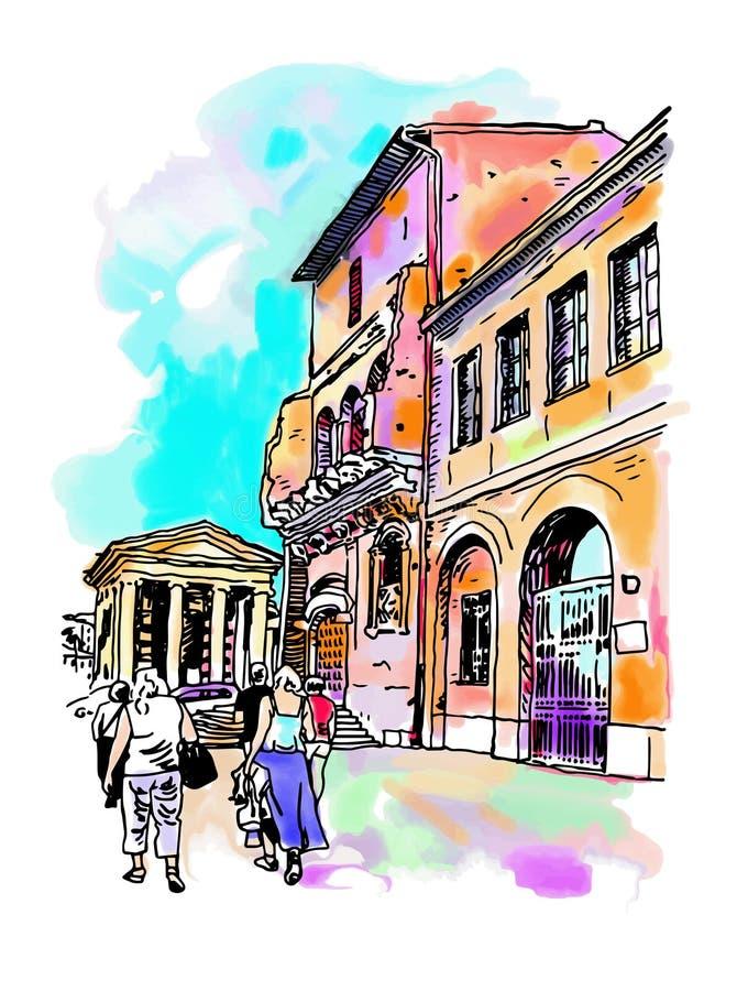 Original- digital vattenfärgteckning av den Rome gatan, Italien vektor illustrationer