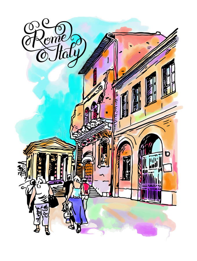 Original- digital vattenfärgteckning av den Rome gatan, Italien stock illustrationer