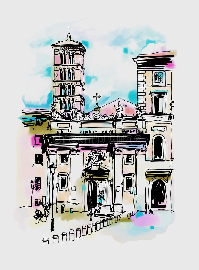 Original digital watercolor drawing of Rome street, Italy, old i stock illustration