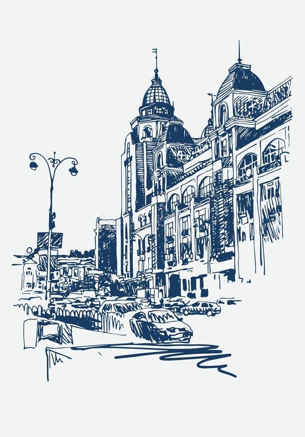 Original- digitala skissar av Kyiv, Ukraina stadlandskap royaltyfri illustrationer