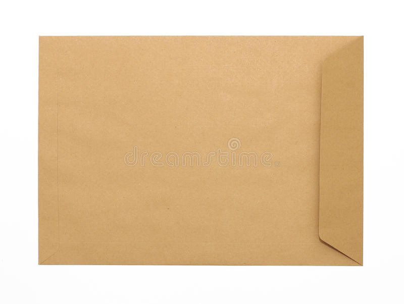 Original do envelope de Brown no fundo branco imagem de stock royalty free