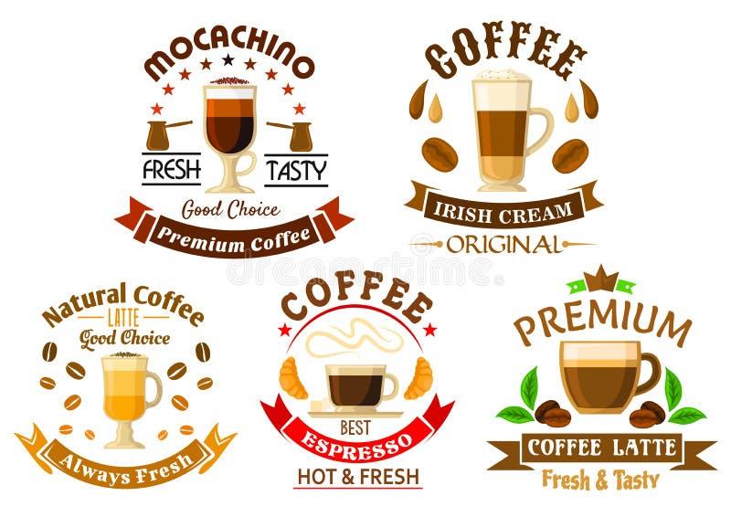 Original drinks for coffee shop design stock illustration