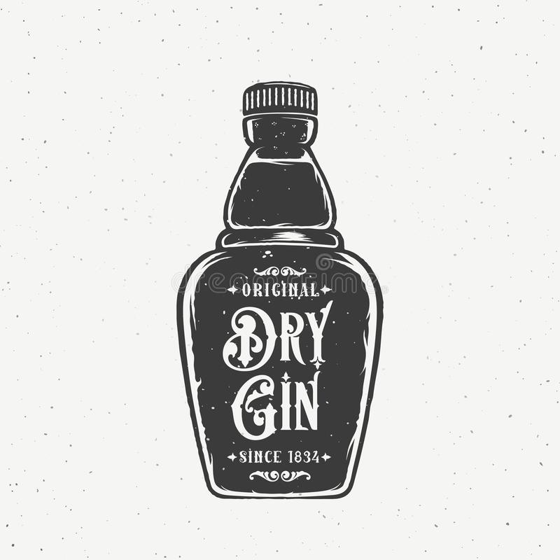Original Dry Gin Abstract Vintage Hand Drawn Bottle. Retro Vector Card, Label, Poster or a Background. With Shabby. Textures. Isolated royalty free illustration