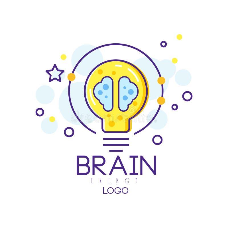 Original- emblem med energihjärnan och lightbulben Smart lösning eller idérik idé Abstrakt illustration i linjär stil stock illustrationer