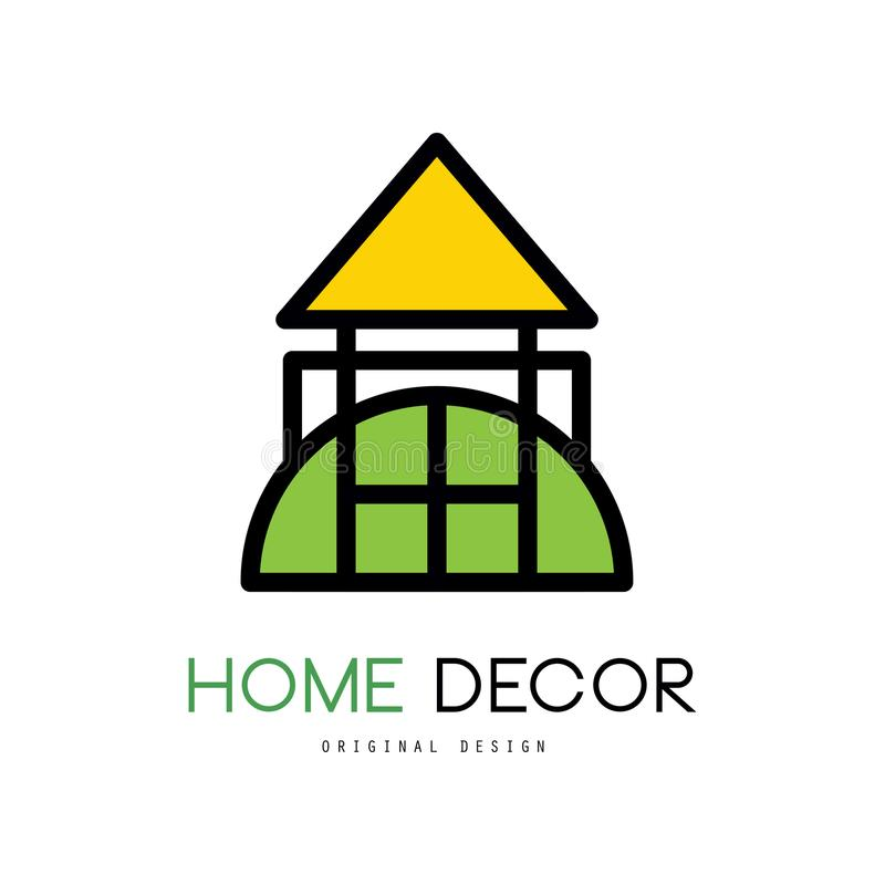 Original emblem for shop with things for house decor. Linear vector logo for home improvement services or business royalty free illustration