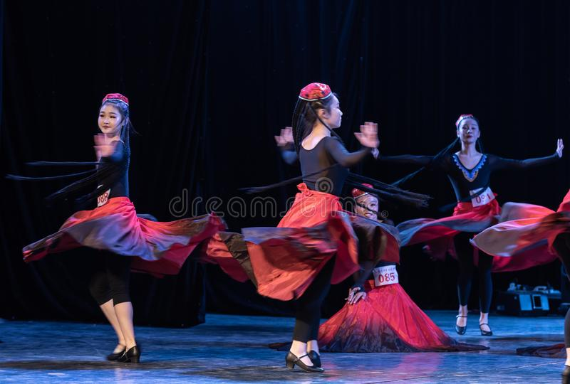 Girl Of Daban Town 4-Uygur Dance-Graduation Show of Dance Departmen. The original ethnic group of Xinjiang dance is the Uygur nationality. The dance is lively royalty free stock photo