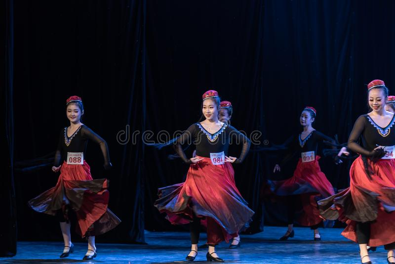 Girl Of Daban Town 2-Uygur Dance-Graduation Show of Dance Departmen. The original ethnic group of Xinjiang dance is the Uygur nationality. The dance is lively royalty free stock images
