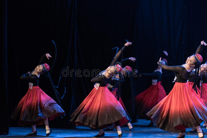 Girl Of Daban Town 3-Uygur Dance-Graduation Show of Dance Departmen. The original ethnic group of Xinjiang dance is the Uygur nationality. The dance is lively stock image