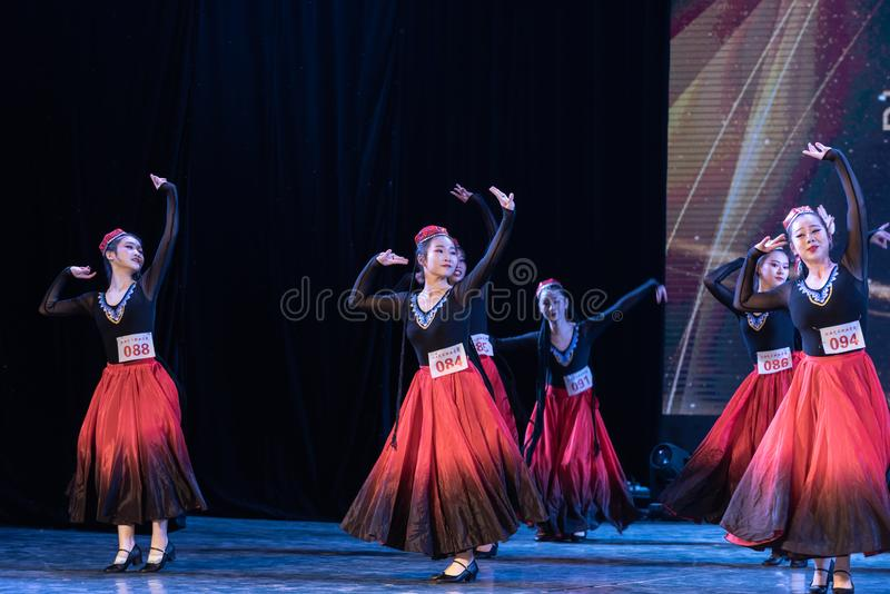 Girl Of Daban Town 3-Uygur Dance-Graduation Show of Dance Departmen. The original ethnic group of Xinjiang dance is the Uygur nationality. The dance is lively royalty free stock photo