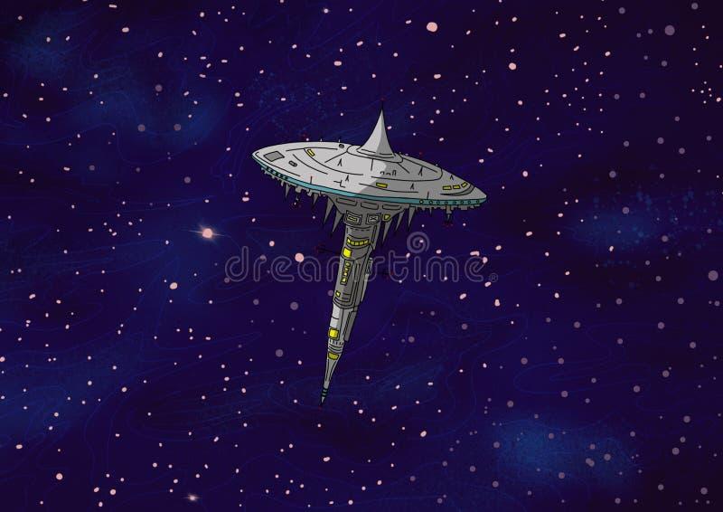 Original Exotic fantasy space station. Space scene environment vector illustration