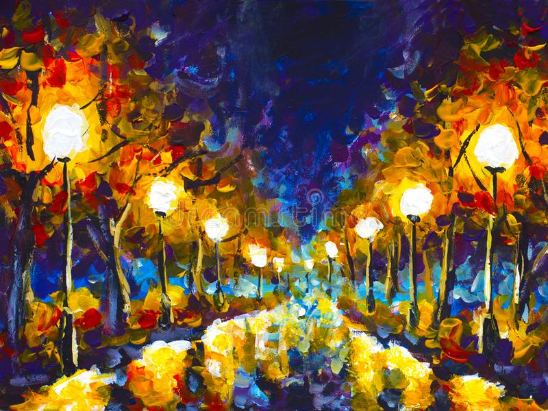 Original expressionism oil painting evening park cityscape, beautiful reflection on wet asphalt on canvas. Abstract violet-orange stock images